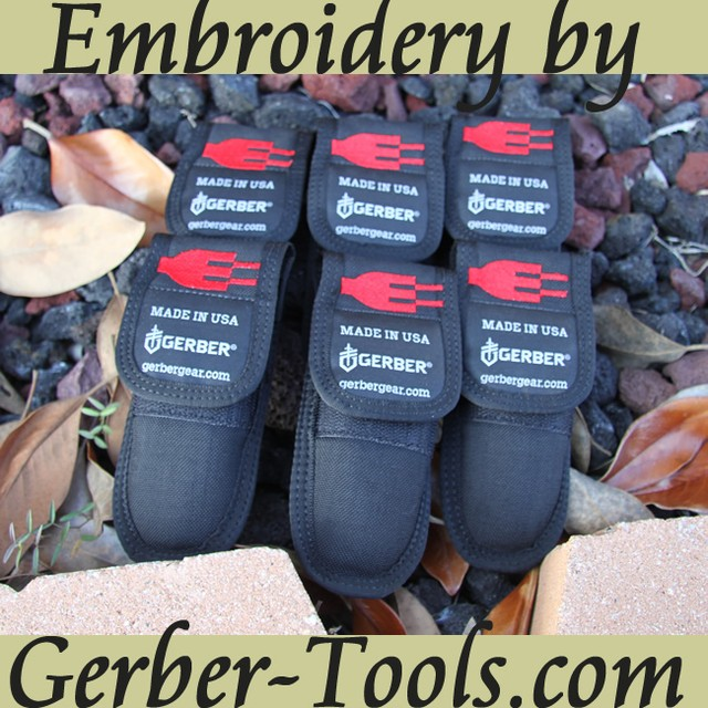 Ask us about our custom embroidery for sheaths at www.Gerber-Tools.com We do names, initals, company & custom logos! #Gerber #gerbergear #custom #logo #embroidery #engraving #laser #edc #threads #knife #tool