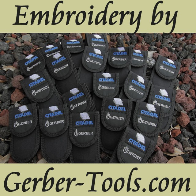 Want a little more from your sheath? Ask us about our custom embroidery at www.Gerber-Tools.com #gerber #gerbertools #gerbergear #tool #knife #sheath #custom #embroidery #laser #engraving #logo #threads #edc