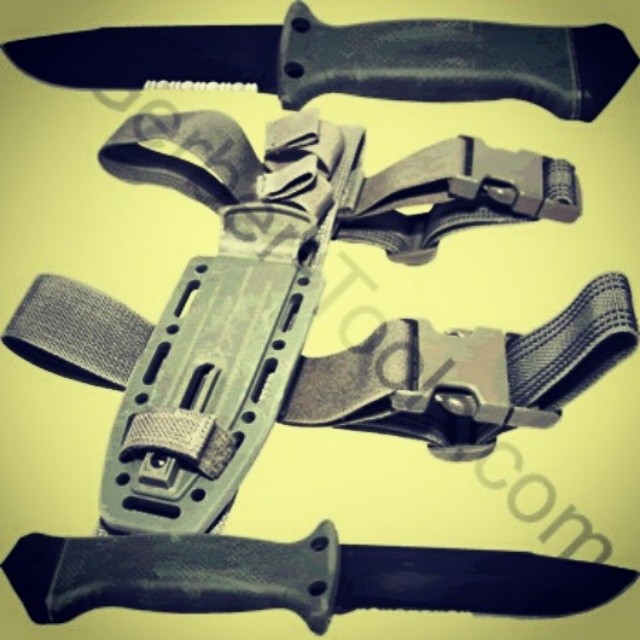 This camo colored version of the LMF mounts easily to your arm, leg, or upside down onto your flak jacket. The Gerber Green LMF II Knife 22-01626 is available at www.Gerber-Tools.com gerber gerbergear lmf knife camo acus military creed tactical infantry