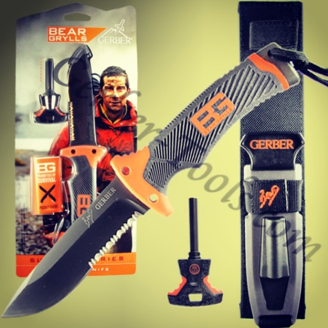 The Gerber Bear Grylls Ultimate Knife 31-00751 features a full tang, partially serrated fixed blade constructed of high carbon stainless steel. The base of the handle has a cross hatched pommel for hammering. Attached lanyard come with a built in survival whistle. Fire starter rod is housed in the front of the sheath, on the back, a diamond sharpener. Available at www.Gerber-Tools.com gerbergear knife survival fixedblade fulltang ultimate bear beargrylls bg bugout outdoorsmen