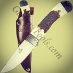 to the discontinued Gerber Wallowa Stag Caper Knife! This model features a genuine stag handle and etched bolsters, giving it a classic appearance. Full tang blade adds strength and durability. Visit us at www.Gerber-Tools.com