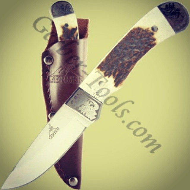 ThrowbackThursday to the discontinued Gerber Wallowa Stag Caper Knife! This model features a genuine stag handle and etched bolsters, giving it a classic appearance. Full tang blade adds strength and durability. Visit us at www.Gerber-Tools.com gerber gerbergear bugout tbt knife stag deer trophy fixedblade knifefanatics