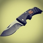 "This little beauty is the Gerber Bear Grylls Compact Scout Knife 31-000760. Lightweight, easy to carry, perfect for your pocket. Stainless steel partially serrated 2.5"" blade. Over-sized fingerguard and locking blade for safety. Priorities of Survival pocket guide included. Available at www.Gerber-Tools.com"