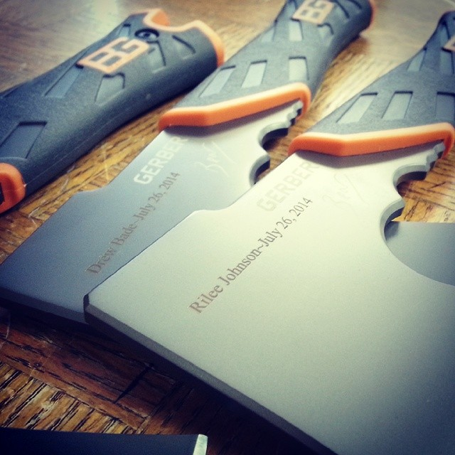 Another big engraving order for a wedding party.. this time on the Gerber Bear Grylls Survival Hatchet. Wish we were invited! Congratulations! www.Gerber-Tools.com gerbergear beargrylls bg survival bugout wedding2014 weddingparty groomsmen gift knifefanatics