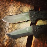 These mean mugs finally being added to the site this weekend, the D.M.F. Auto Modified Clip Point and the D.M.F. Auto Tanto. Which blade style do you prefer? www.Gerber-Tools.com