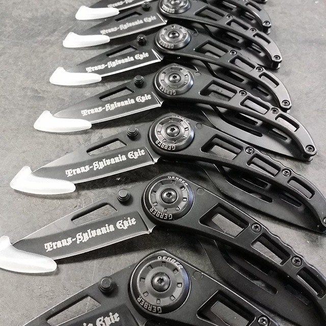Up and at them this morning with laser engraving! LaserEngraving transylvania epic knives gerber sharp