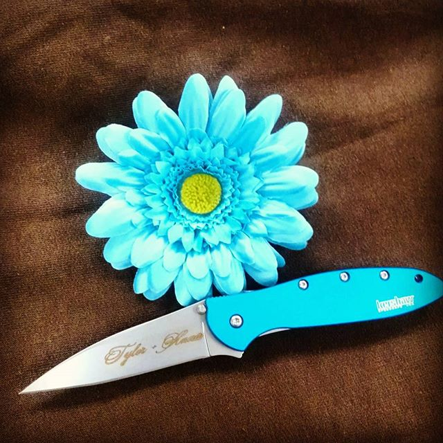 Capture your sweetheart with this Teal Kershaw Leek, nothing says it better than flowers and a knife with MeaCulpa font kershawknives leek staymarried kenoniondesign