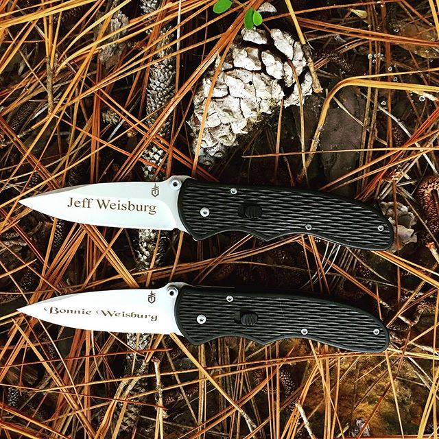 Gerber Fast Draw Knife 22-07162. Perfect husband and wife gifts- personally engraved. Times New Roman font for him and Black Chancery font for hers. Get your set today! #anniversarygift #weddinggift #husbandandwife #gerber #gerberknives #fastdraw #22-07162