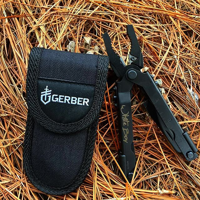 Gerber MP600 Blunt nose black multiplier with carbide cutters and nylon sheath 07520G. Personalized engraving done in Ellianerelle's Path font. #multitool #Gerber #gerbertools #engravedtools #personalizedengraving