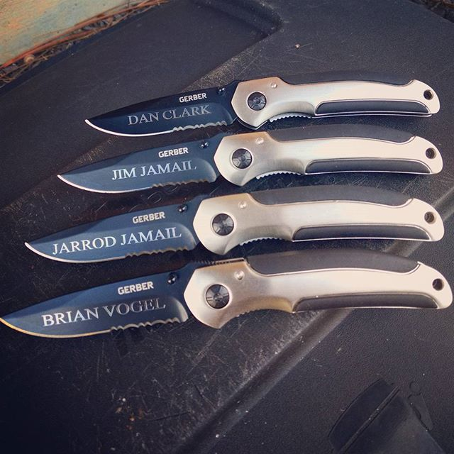 Gerber AR 3.0 black half serrated knife was just engraved for these guys. Get yours done today today too - Times New Roman font.  #gerberknives #customengraving #ar  #serratededge