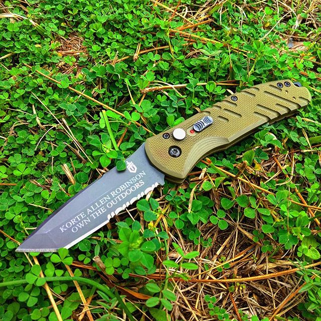 Gerber Propel Auto - OD Green Serrated Edge 30-001309. High quality 420HC steel blade partially serrated with personalized engraving! Available at gerber-tools.com ! #gerber #propel #auto #personalized #engraving #30-001309