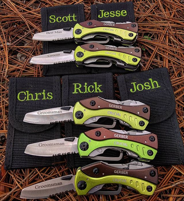 Gerber Crucial Tool Green 30-000140. Personalized engraving and embroidery for a happy groom, best man, and his groomsman! #Gerber #crucial #green #personalized #engraving #embroidery #groom #30-000140