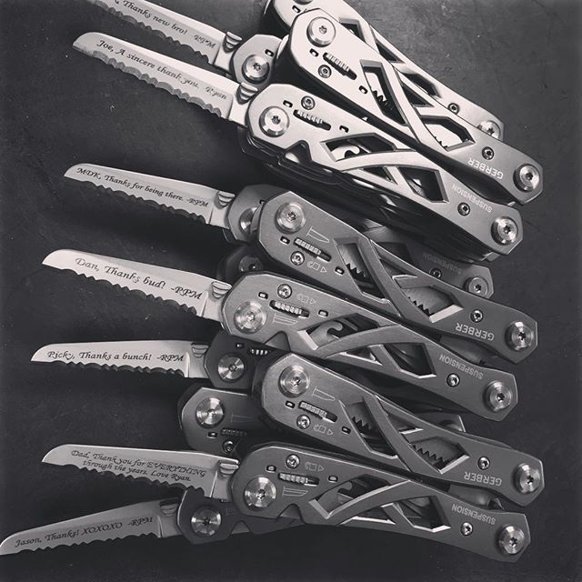Gerber Suspension multi-plier 22-01471.  Give thanks to those you love with this great tool! Engraved in Monotype Corsiva font. #thanksgivinggifts #giftsofthanks #thanksabunch