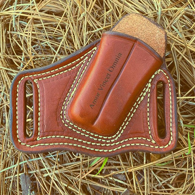 Brown leather sheath for Gerber Suspension tool.  Made in the USA  by the hands of a leather man who sized it just perfect for the suspension multiplier. We can engrave on it too! #leathersheath #leathersheathforsuspension #gerbersuspension #engravedsheaths