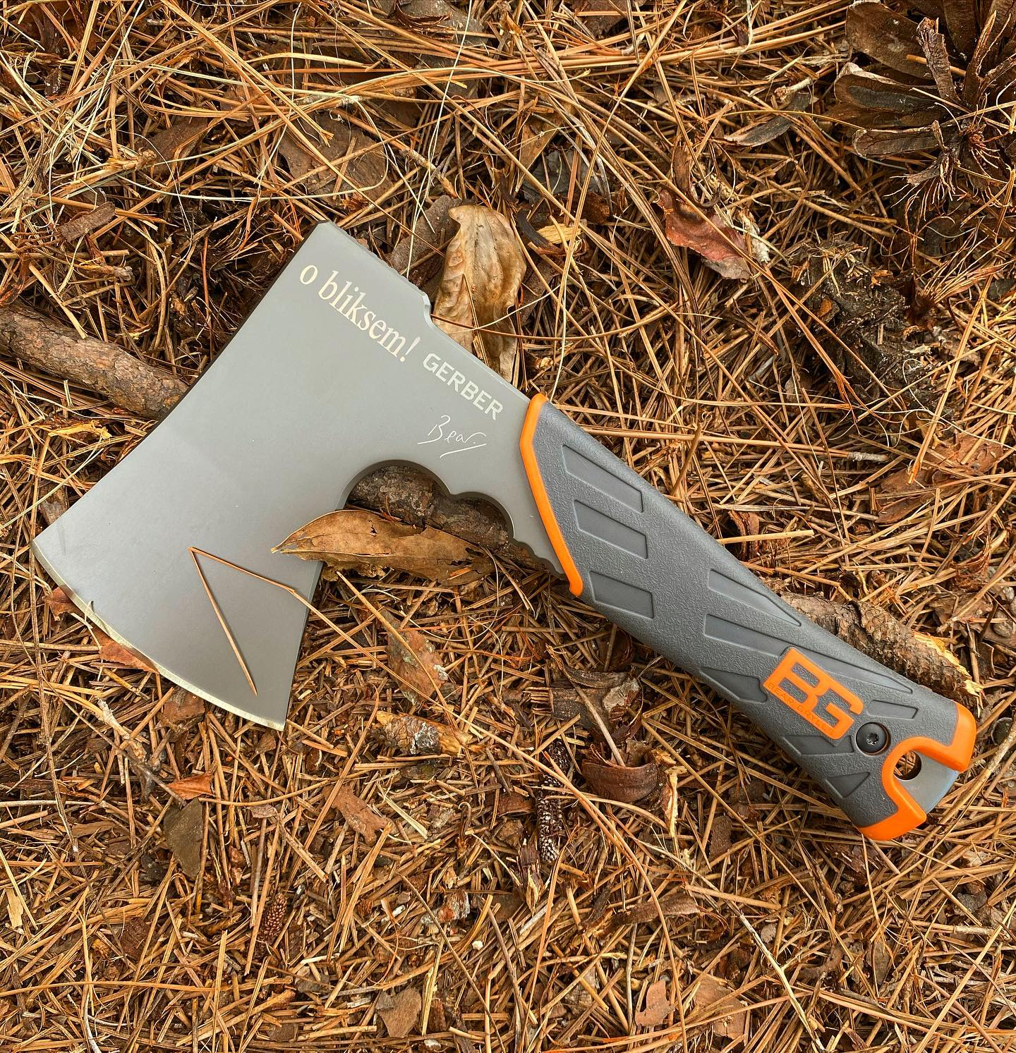 Gerber Bear Grylls Hatchet 31-002070- perfect size for your back pack. Just engraved in Times New Roman font and on its way to help this customer. #31-002070 #hatchet #beargryllshatchet