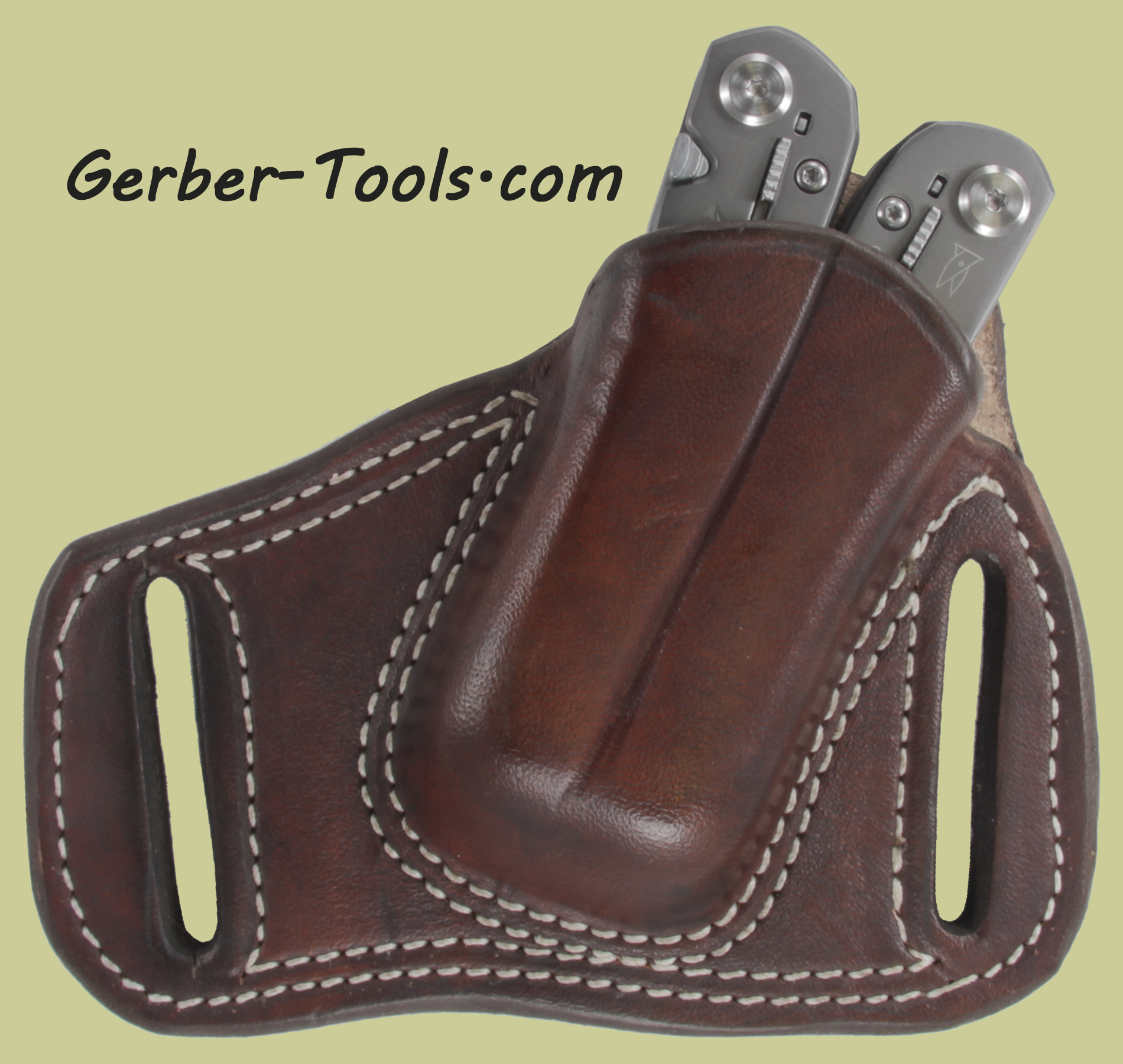 Brown Leather Sheath Pancake Holster for Gerber Suspension