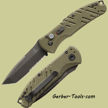 Gerber Propel Automatic Knife 30-001309 - OD Green, Black Oxide, Serrated Edge